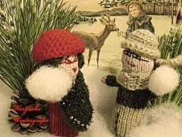 Weihnachtskarte Schneeballschlacht mit Text