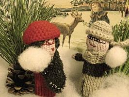 Weihnachtskarte Schneeballschlacht ohneText