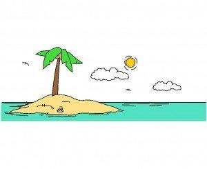 Eine gezeichnete Palme auf einer Insel