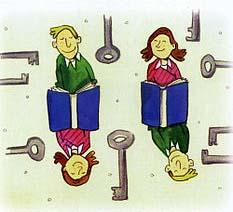 Auf der Zeichnung sind vier lesende Jugendliche und einige Schlüssel abgebildet