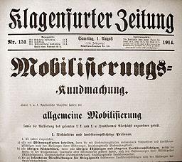 Klagenfurter Zeitung: Mobilisierungs-Kundmachung vom 1. August 1914