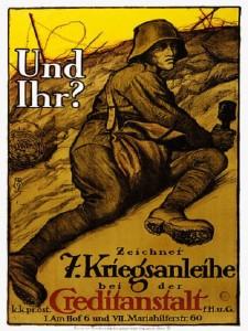 Das Plakat fordert zum Kauf de österreichischen Kriegsanleihe auf