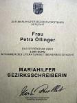 Die Verleihungsurkundes Stipendiums als 1. Mariahilfer Bezirksschreiberin