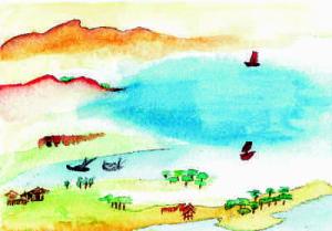 Ansichtskarte 1 mit Landschaft